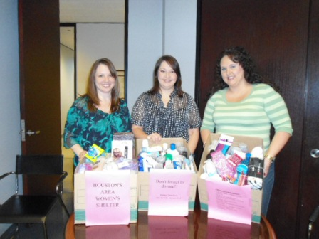 The Houston office of Baker Donelson collected donations of toiletries and personal care items for the Houston Area Women's Center.  Since 1977 the Center has helped individuals affected by domestic and sexual abuse by providing counseling and shelter.